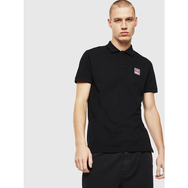 T-weet -split Pique polo shirt with double logo - Black