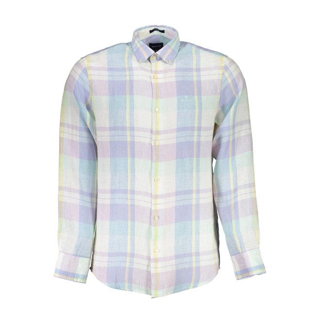Regular Fit Madras Linen Pastel Shirt