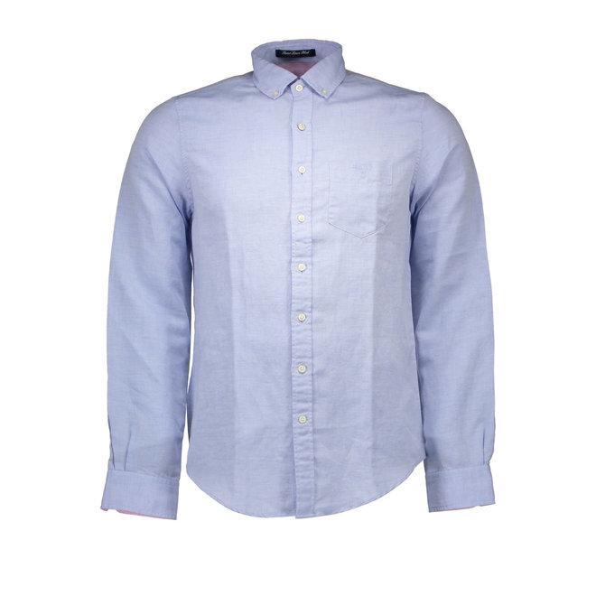 Cotton - Linen shirt Long Sleeves - Light Blue