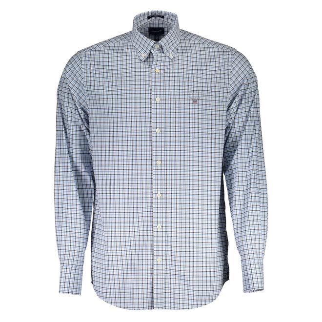 Regular Fit Three-Color Gingham Broadcloth Shirt  - Light blue
