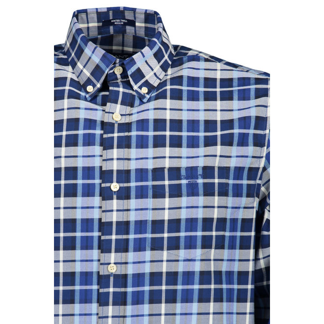Regular Winter Twill Plaid Shirt  Blue/white