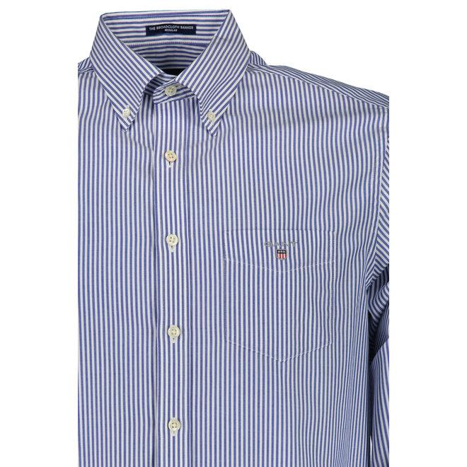 Regular Fit Banker Broadcloth Shirt -  Blue