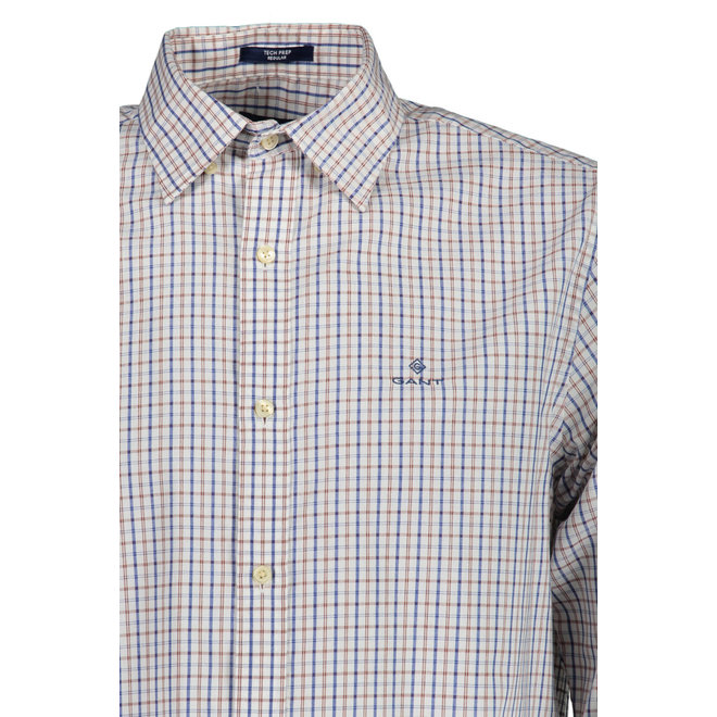 Regular Fit Tech Prep™ Twill Check Shirt -  White