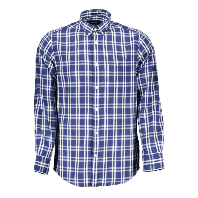 Checked Regular Fit Oxford  Shirt -Blue