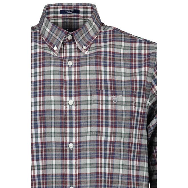 Regular Winter Twill Melange Plaid Shirt - Persian Blue