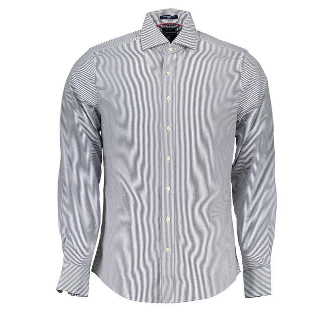 Classic Poplin Banker Stripe Shirt - Blue