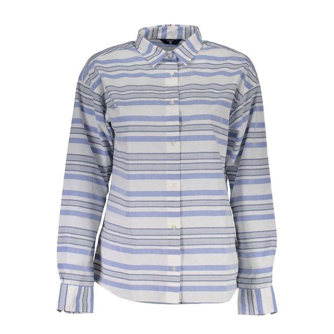 Blue Tech Prep™ Awning Striped Shirt women