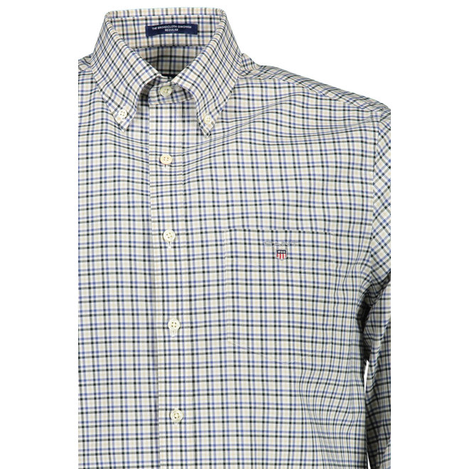 Regular Fit Three-Color Gingham Broadcloth Shirt -Beige