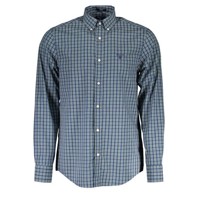 Regular Fit 2-Color Gingham Oxford Shirt - Green/blue