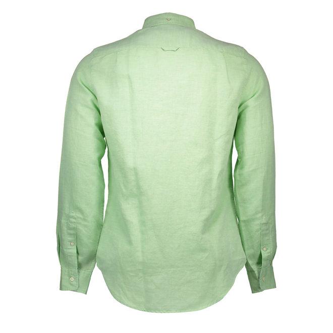Cotton -Linen shirt Long Sleeves - Light Green