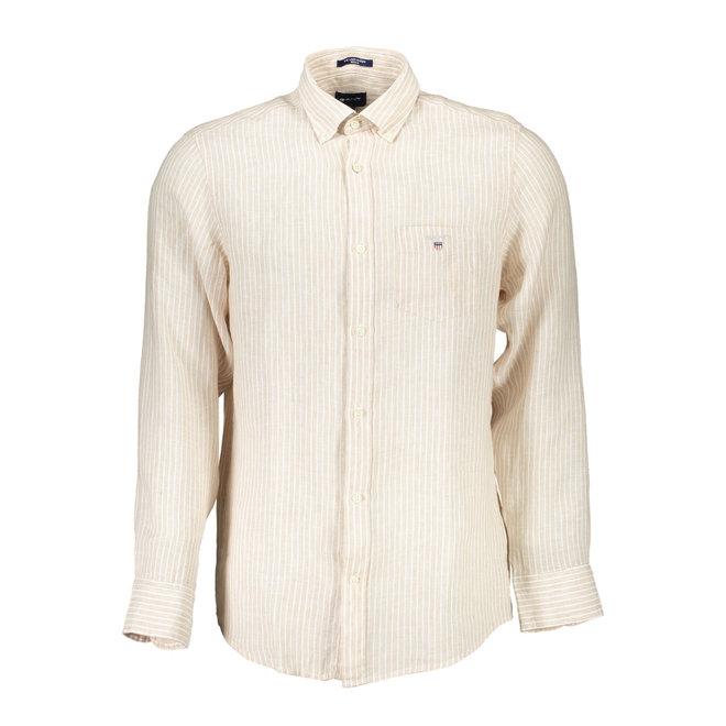 Linen Banker Regular Fit Shirt - Beige