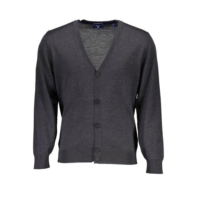Fine Merino Cardigan- Grey