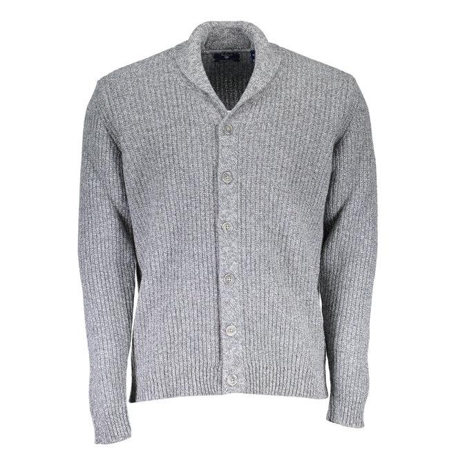 Chunky Shawl Cardigan -  Grey Melange