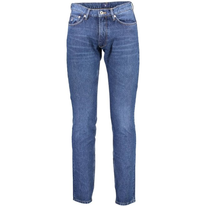 Tapered Warp Stretch Jeans - Mid blue