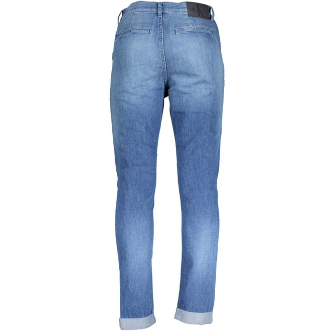 Tapered cotton linen denim trousers
