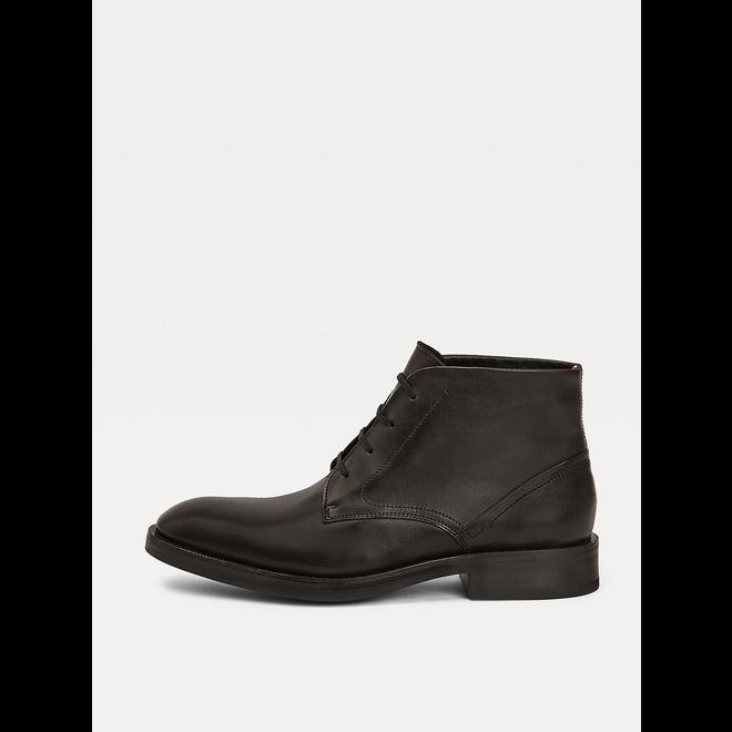 Premium Leather Lace-Up Derby Boots - Black