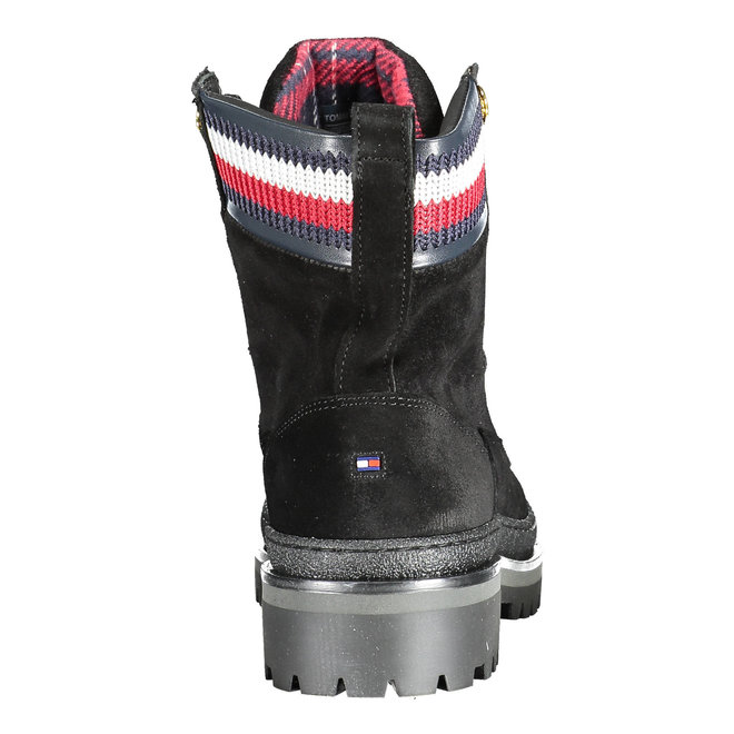 Lace-up knitted stripe boots - Black