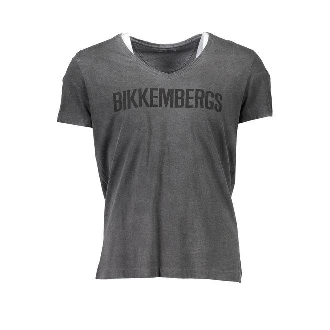 V- Neck T- shirt with logo print - Grey