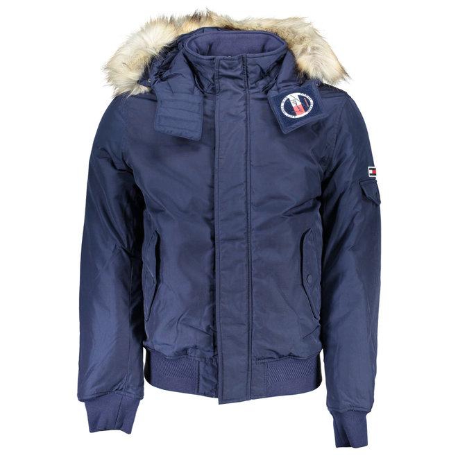 Trimmed hood technical jacket