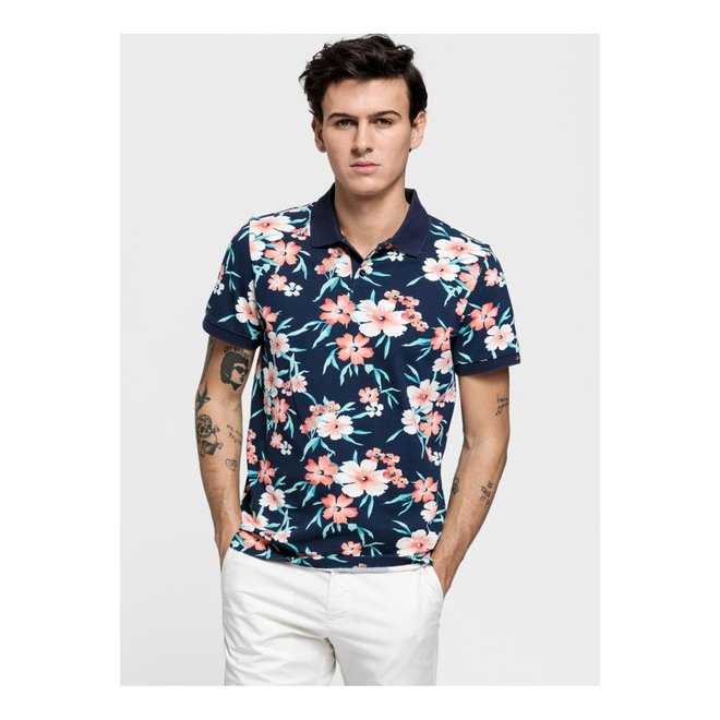 All Over Floral Polo Shirt - Blue