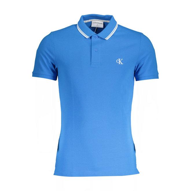 Slim Stretch Piqué Polo Shirt - Light blue