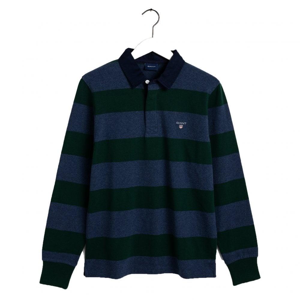 GANT Mens Original Barstripe Long Sleeve Heavy Rugger Polo Shirt