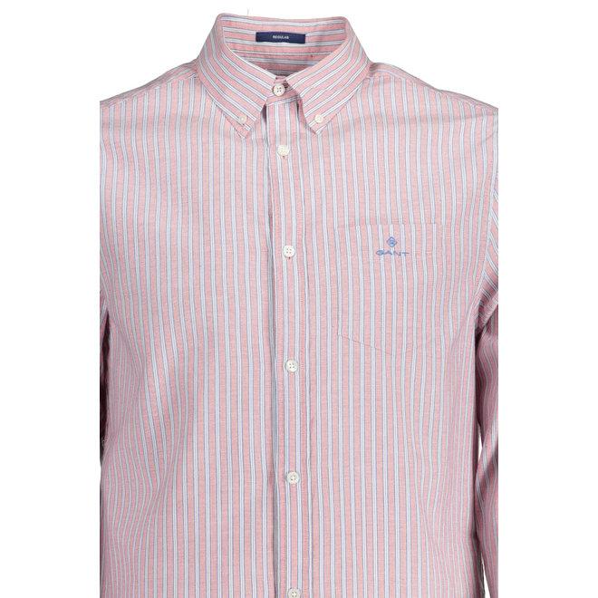 Red Regular Fit Stripe Windblown Oxford Shirt