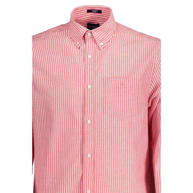 Regular Fit Tech Prep™ Stripe Seersucker Shirt - Bright Red
