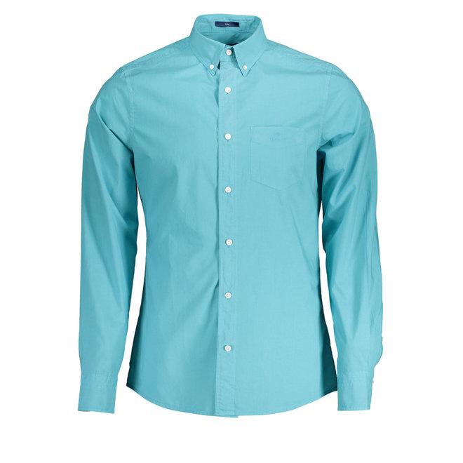 Slim Fit Sunfaded Broadcloth Shirt - Aqua