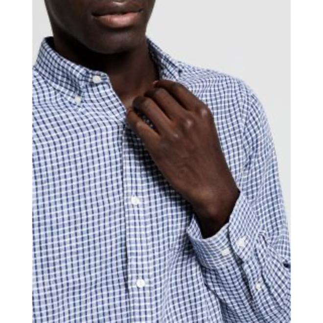 Regular Fit Check Linen Shirt  - Persian Blue