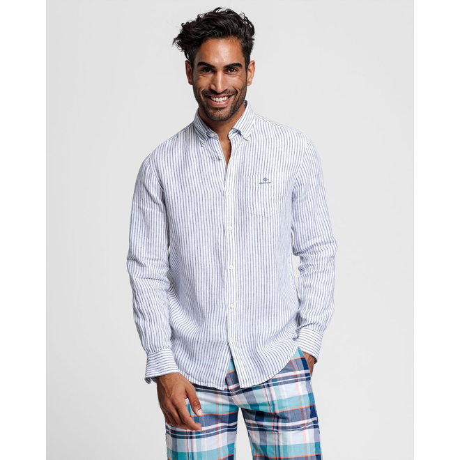 White Regular Fit Stripe Linen Shirt men