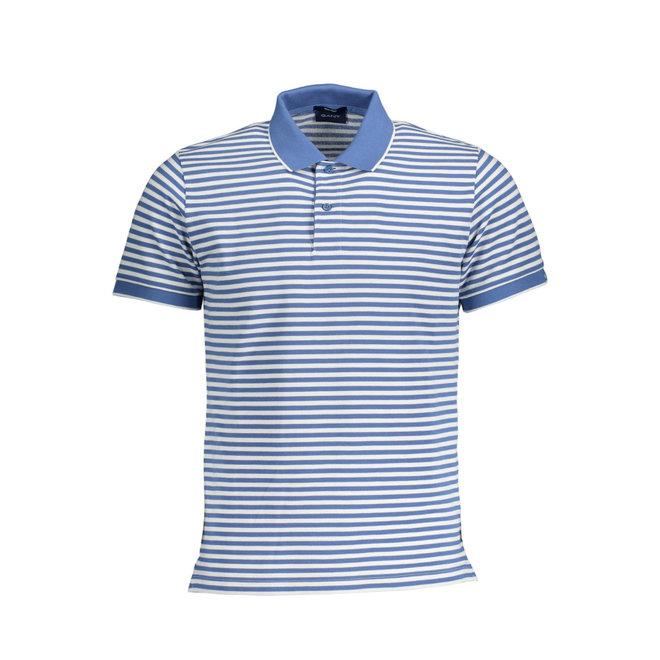 Light Blue Striped Gant Polo Men