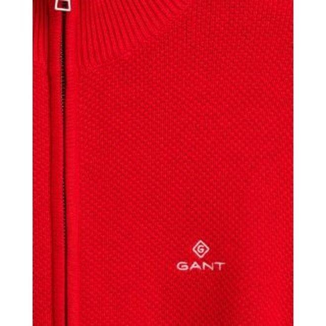 Cotton Piqué Zip Cardigan - Red