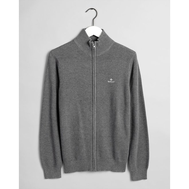 Cotton Piqué Zip Cardigan - Grey
