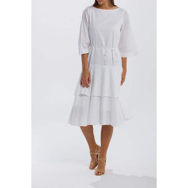 Pure Prep Sateen Striped Ruffle Dress