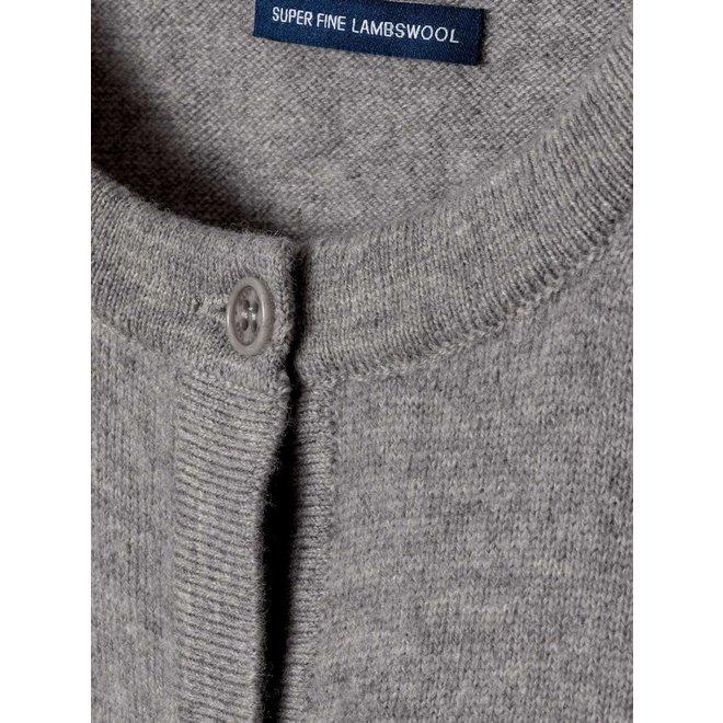 Women's Lambswool Crew Cardigan - Grey