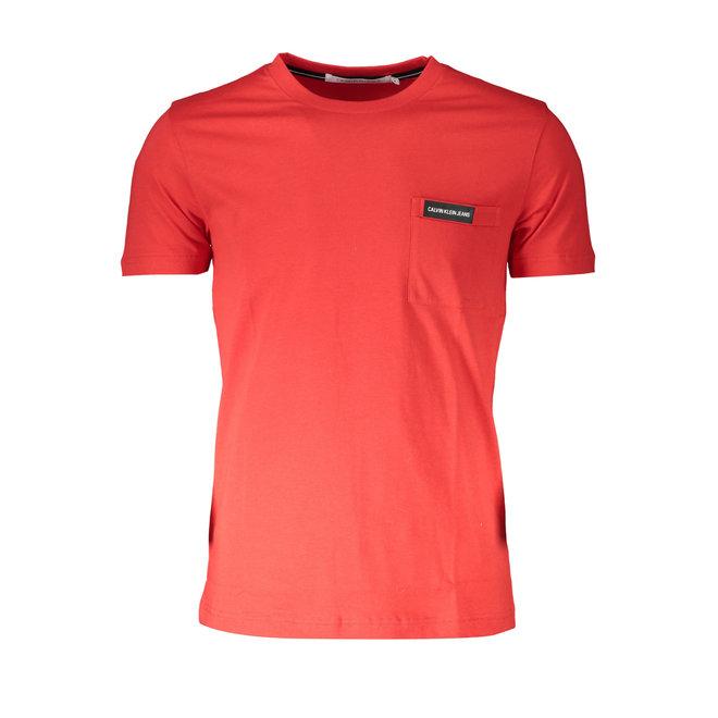 Slim Organic Cotton Pocket T-Shirt - Red