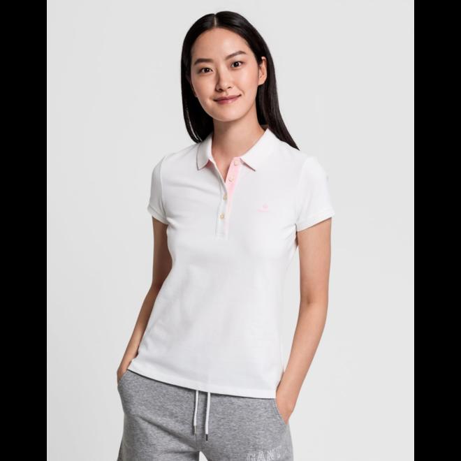 White Contrast Collar Piqué Rugger women