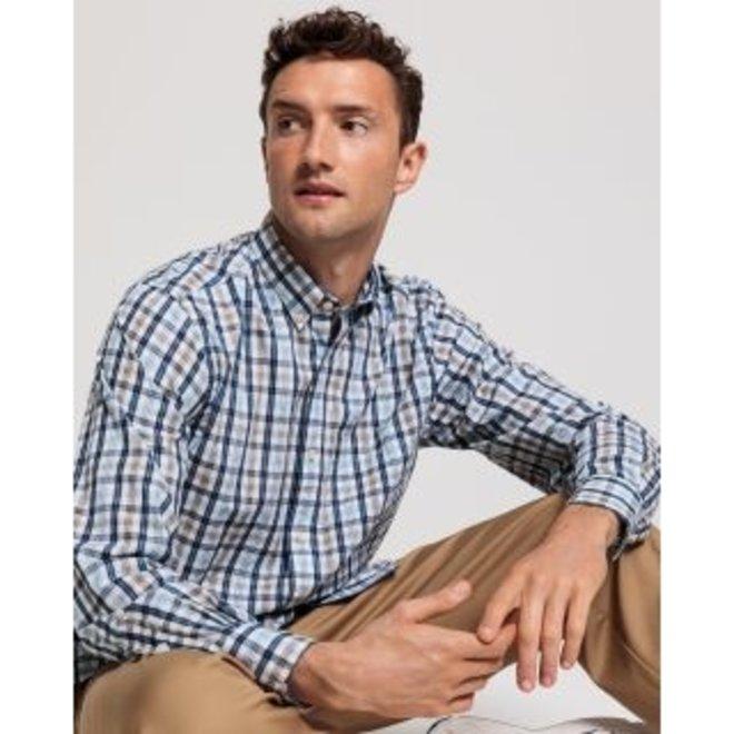 Brown Regular Fit Tech Prep™ Indigo Check Broadcloth Shirt men
