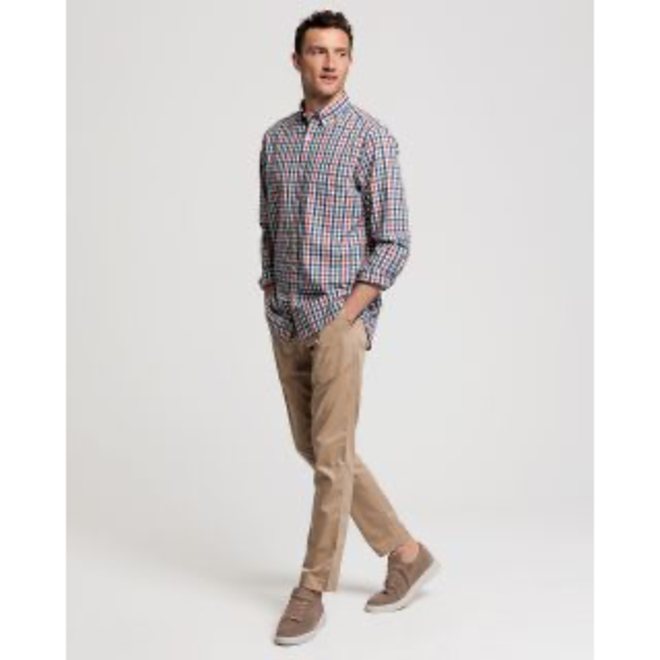 Four Leaf Clover Regular Fit Tech Prep™ Indigo Check Broadcloth Shirt