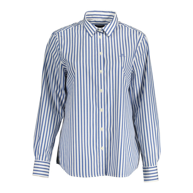 Blue Broadcloth Striped Shirt women