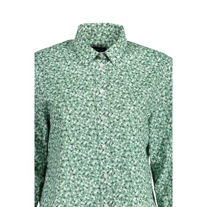 Green Summer Floral Cotton Voile Shirt women