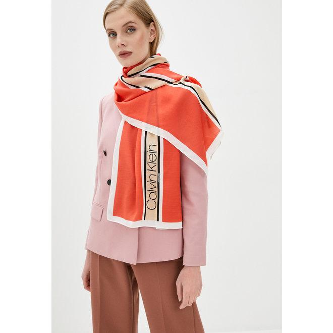 Calvin Klein women's coral Stripe Scarf