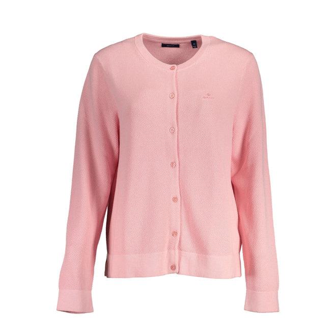 Pink Cotton Piqué Cardigan women