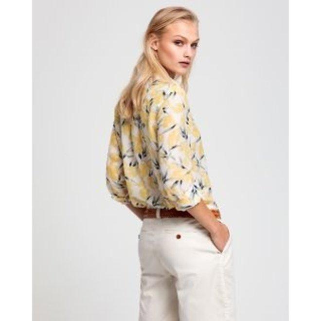 Mimosa Yellow Lemon Cotton Silk Shirt women