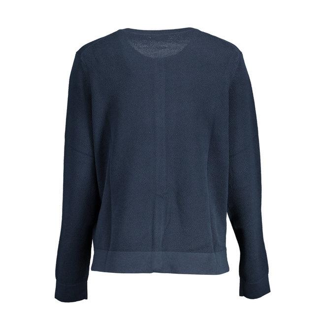 Blue Cotton Piqué Cardigan women