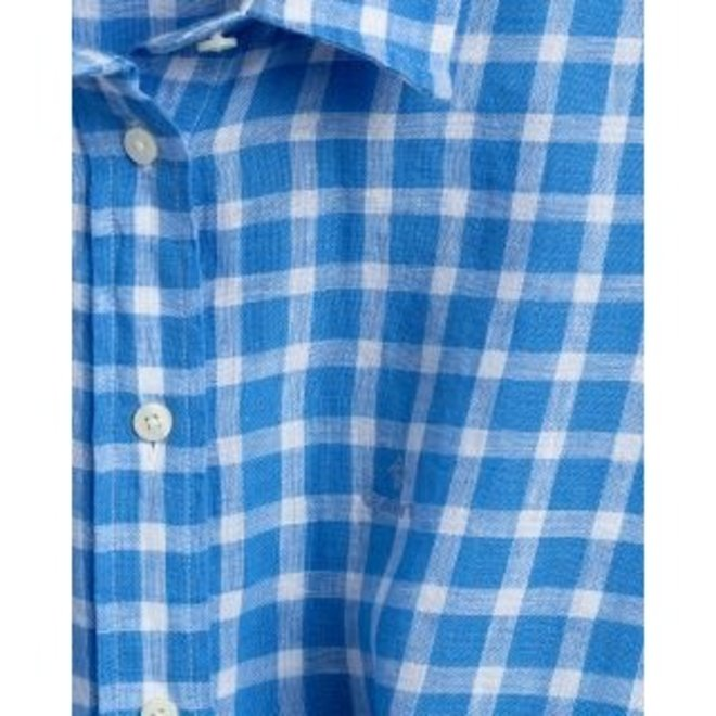 Blue Linen Chambray Gingham Shirt