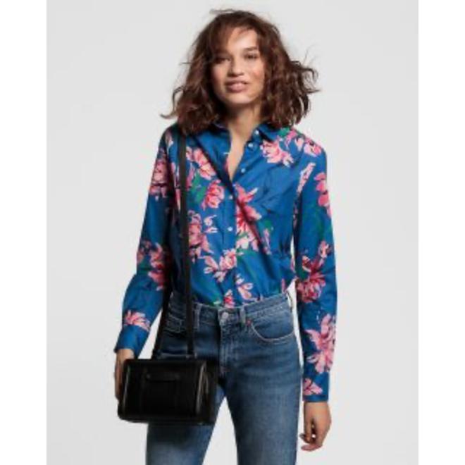Blue Peonies Cotton Voile Shirt women