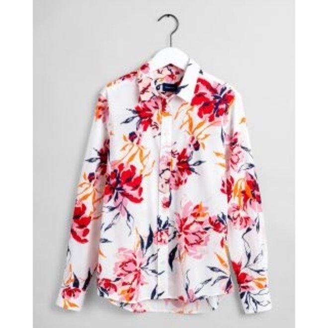 White Peonies Cotton Voile Shirt women