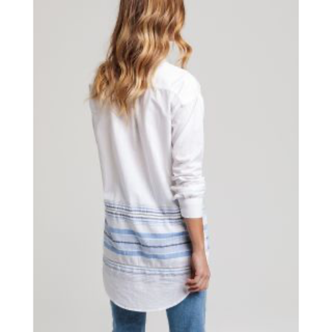 White Slub Cotton Stripe Long Shirt women